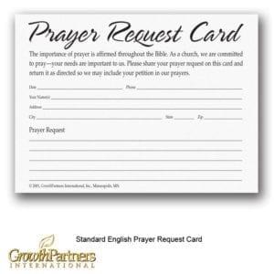 standard english prayer request card