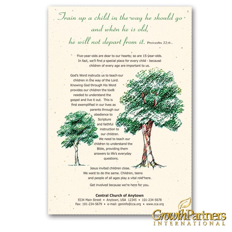youth leaflet with growing trees